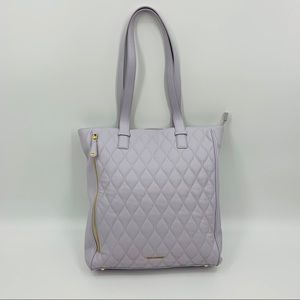 Vera Bradley Cloud Gray Leather Quilted Leah Tote